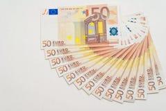 50 notas do Euro no branco Fotos de Stock Royalty Free