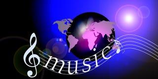 Notas do mundo da música do Internet Fotografia de Stock