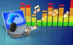 notas do portátil 3d e dos fones de ouvido Fotografia de Stock Royalty Free