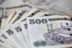 Notas do Riyal do saudita do close-up Imagem de Stock Royalty Free