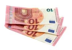 10 notas dos Euros Foto de Stock