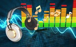 notas dos fones de ouvido 3d Foto de Stock