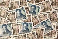Notas dos ienes japoneses. Imagem de Stock