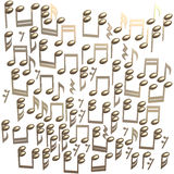 Notas douradas isoladas em um branco Imagem de Stock Royalty Free