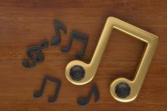 Notas e fones de ouvido da música na placa de madeira ilustração 3D Ilustração do Vetor