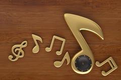 Notas e fones de ouvido da música na placa de madeira ilustração 3D Ilustração Stock