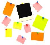 Notas e frame vazios coloridos da foto Fotografia de Stock