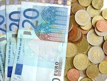 Notas e moedas Foto de Stock Royalty Free