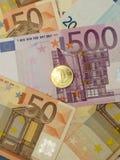 Notas e moedas do Euro Imagem de Stock
