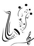 Notas e saxofone ilustração stock