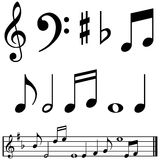Notas e símbolos da música Imagens de Stock