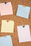 Notas em branco no corkboard Foto de Stock Royalty Free