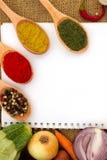 Notas en blanco con la especia y las verduras Fotografía de archivo