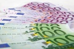 Notas euro Foto de archivo libre de regalías