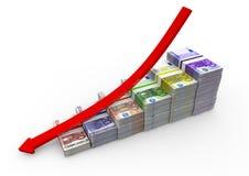 Notas euro con abajo la flecha Imagen de archivo
