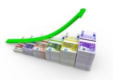 Notas euro con la flecha ascendente Imagen de archivo
