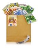 Notas euro con la reflexión Foto de archivo libre de regalías