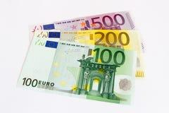 Notas euro con la reflexión Imágenes de archivo libres de regalías