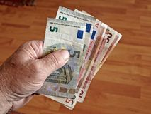 Notas euro con la reflexión Imagen de archivo libre de regalías