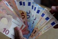 Notas euro de la moneda Foto de archivo