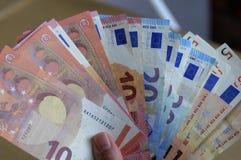 Notas euro de la moneda Imagenes de archivo