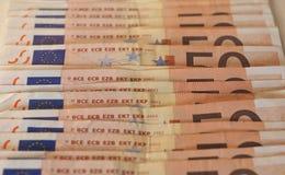 Notas euro del EUR, UE de la unión europea Imagen de archivo libre de regalías