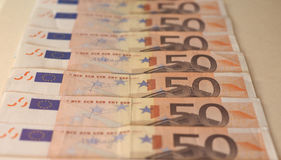 Notas euro del EUR, UE de la unión europea Fotos de archivo libres de regalías