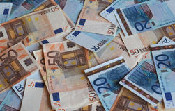 Notas euro del EUR, UE de la unión europea Foto de archivo libre de regalías