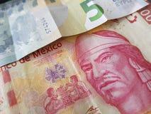 5 notas euro y 100 Pesos de México, de fondo y de textura Imagen de archivo libre de regalías