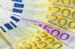 Notas européias fotografia de stock