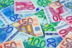 Notas europeas del dinero en circulación en euros Fotografía de archivo