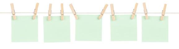 Notas fijadas verde Imagen de archivo libre de regalías