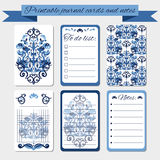 Notas imprimibles, tarjetas del diario, etiquetas, con los ornamentos azules del damasco Fotos de archivo