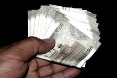 500 notas indias de la moneda imagenes de archivo