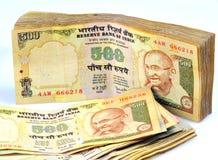 Notas indias del dinero en circulación Fotografía de archivo