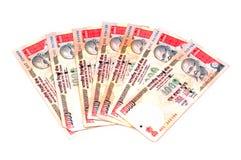 Notas indias del dinero en circulación Foto de archivo libre de regalías