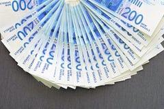 Notas israelitas do dinheiro Fã de cédulas do shekel fotos de stock