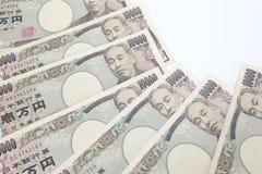 Notas japonesas de la moneda, yenes japoneses Fotos de archivo libres de regalías