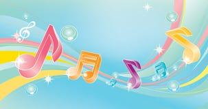 Notas musicais coloridas Imagens de Stock