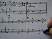Notas musicais de composição Fotografia de Stock Royalty Free