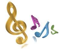 Notas musicais de dança Fotografia de Stock Royalty Free