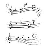 Notas musicais de música de folha Imagem de Stock