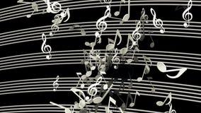Notas musicais do voo abstrato na cor branca no preto ilustração stock