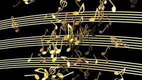 Notas musicais do voo abstrato na cor dourada ilustração royalty free