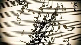 Notas musicais do voo abstrato no estilo do vintage ilustração royalty free