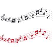 Notas musicais e equipe de funcionários Imagens de Stock