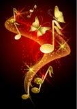 Notas musicais, fumo, estrelas e borboleta Foto de Stock Royalty Free