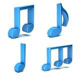 Notas musicais isoladas no fundo branco Fotos de Stock