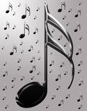 Notas musicais metálicas Fotografia de Stock