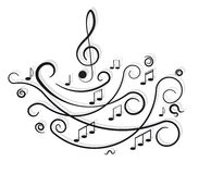 Notas musicais. Ornamento com redemoinhos. Imagem de Stock
